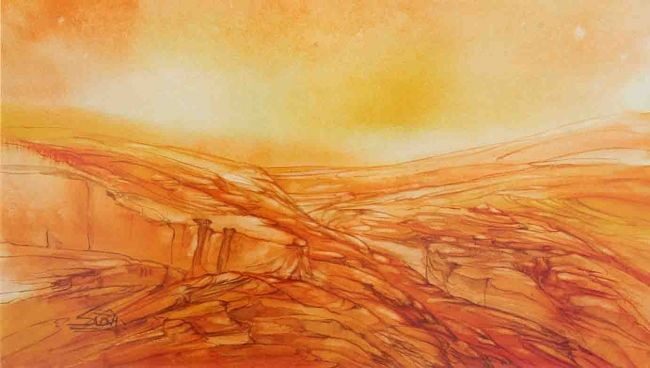 ORANGE VALLEY - Painting,  7.1x13.4 in, ©2006 by Sudha Sama -                                                                                                                          Abstract, abstract-570