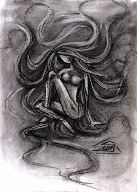 LOST IN HER OWN WORLD - Drawing,  15.8x11.8 in, ©2006 by Sudha Sama -