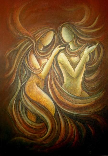 INTIMACY - Painting,  36x24 in, ©2006 by Sudha Sama -