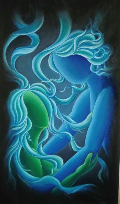 SOUL MATES - Painting,  48x36 in, ©2008 by Sudha Sama -