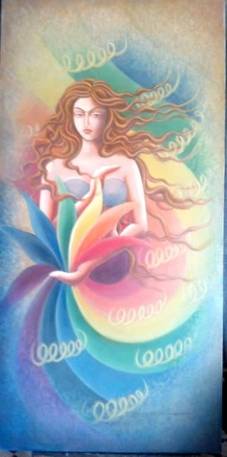ENLIGHTENMENT - Painting,  48x24 in, ©2011 by Sudha Sama -                                                              ENLIGHTENMENT