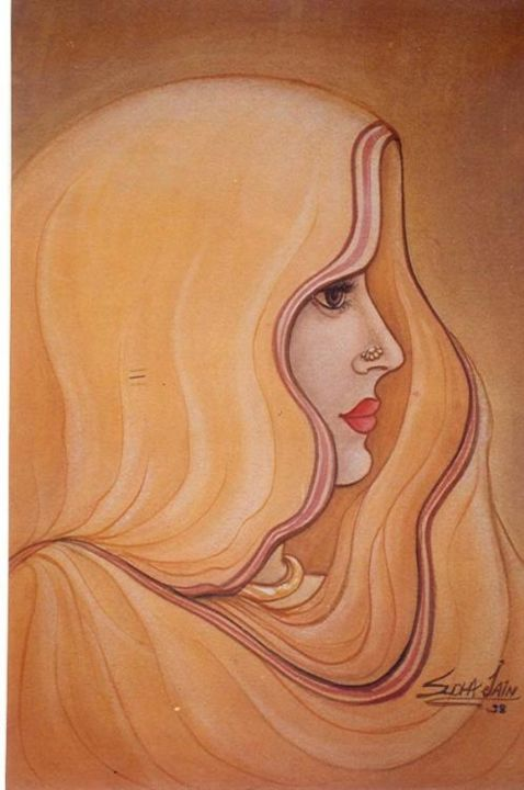 BEAUTY - Painting,  13x9.1 in, ©1998 by Sudha Sama -