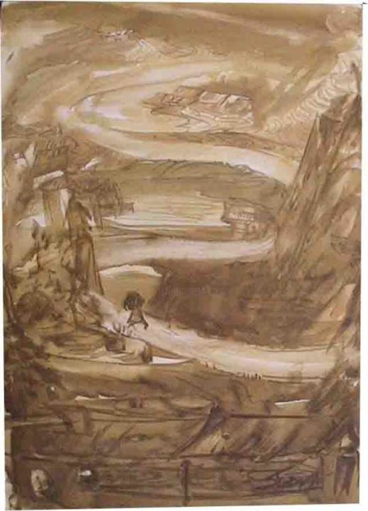 SEPIA VALLEY - Painting,  7.1x5.1 in, ©2005 by Sudha Sama -