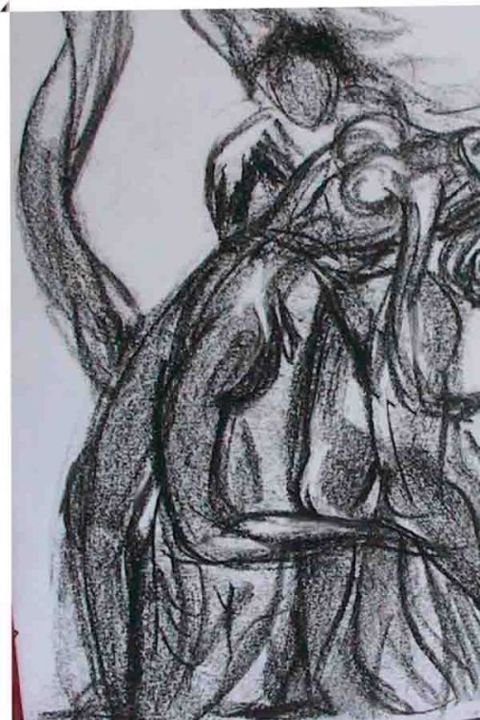 LOVERS - Drawing,  7.5x5.5 in, ©2006 by Sudha Sama -