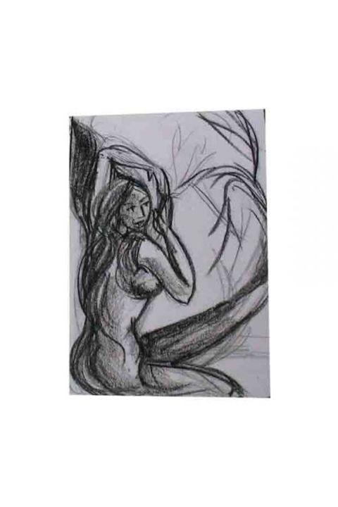 LOST IN MEMORIES - Drawing,  7.5x5.5 in, ©2006 by Sudha Sama -