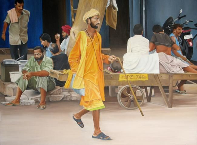"""Painting titled """"Passing By"""" by Sudhir Pillai, Original Art, Oil"""