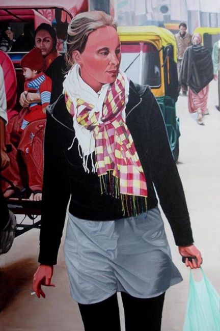 """Painting titled """"Girl with Scarf"""" by Sudhir Pillai, Original Art, Acrylic"""