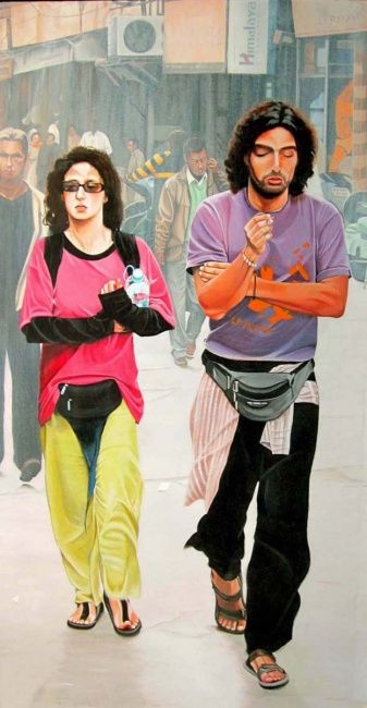 """Painting titled """"Couple"""" by Sudhir Pillai, Original Art, Acrylic"""