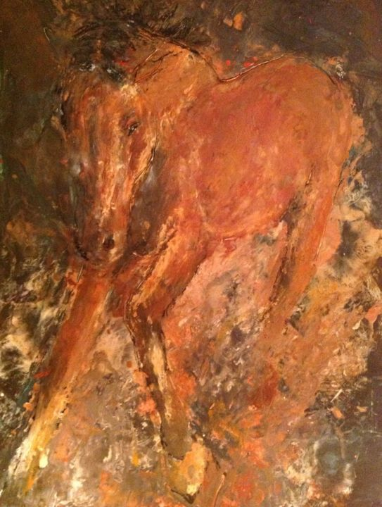 """Painting titled """"Crashing Through"""" by Sue Cahill, Original Art, Oil"""