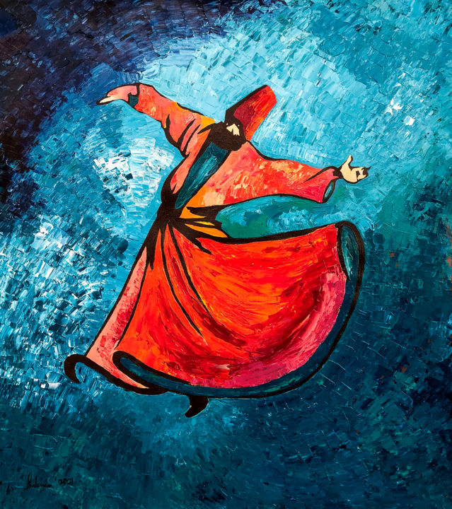 """Painting titled """"Tasawwuf Sufi Whirl…"""" by Suleman Rehman, Original Art, Acrylic"""