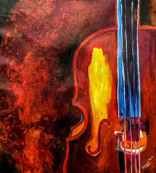 """Painting titled """"rever guitar painti…"""" by Suleman Rehman, Original Art, Acrylic"""