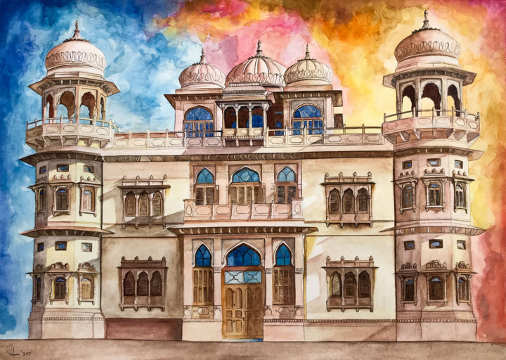 """Painting titled """"Mohatta Palace A ta…"""" by Suleman Rehman, Original Art, Watercolor"""