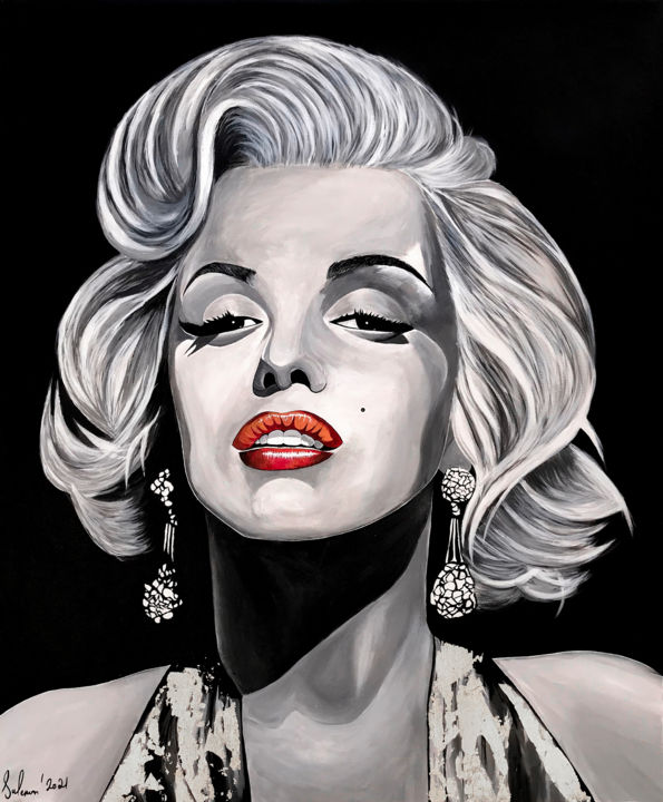 """Painting titled """"Marilyn Monroe Pain…"""" by Suleman Rehman, Original Art, Acrylic"""
