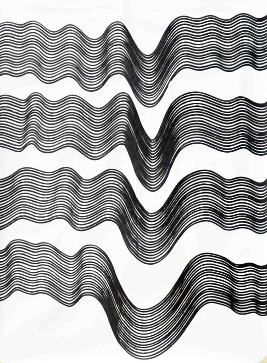 untitled-no-81 - Drawing,  40x30x0.1 in, ©2018 by Sumit Mehndiratta -                                                                                                                                                                                                                                                                  Abstract, abstract-570, Abstract Art, Black and White, Patterns