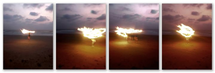 Fire goddess - Photography,  28x66x0.1 in, ©2019 by Sumit Mehndiratta -                                                                                                                                                                                                                                                                                                                                                                                                                                                                                                                                                                                                                                                                                  Abstract, abstract-570, Abstract Art, Beach, Colors, People, Still life, fire, flame, sunset, beach, goa, india, Limited Edition