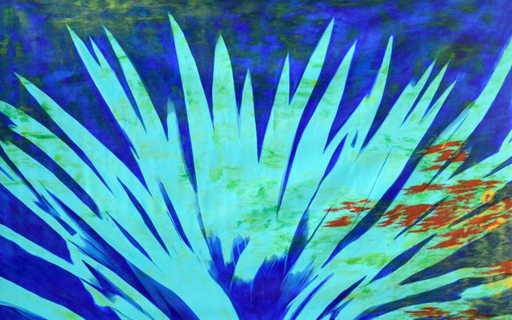 Ocean blossom - Painting,  50x79x0.1 in ©2019 by Sumit Mehndiratta -                                                                                                                                                                                                Abstract Art, Abstract Expressionism, Art Deco, Contemporary painting, Cubism, Minimalism, Modernism, Canvas, Abstract Art, Botanic, Colors, Flower, Nature, Water, large, extra large, plant