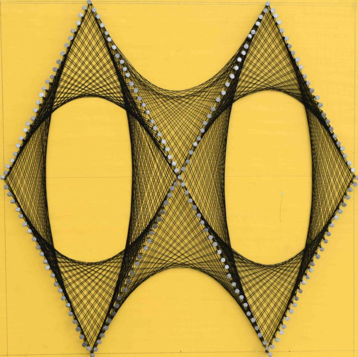 Nailed it Series No.73 - © 2019 thread art, string art, modern art, contemporary sculpture, wall hanging, weave, weaving Online Artworks