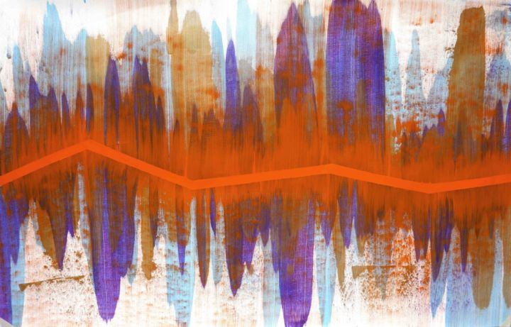 Composition no. 143 - Painting,  37x60x0.1 in ©2019 by Sumit Mehndiratta -                                                                                                                                Abstract Art, Art Deco, Contemporary painting, Modernism, Abstract Art, Colors, Geometric, Patterns, Wall, neon orange, fluorescent orange, electric, elecctricity, powerful, vibrant, colourful, purple, blue, bronze, beige, white, fluid, liquid, movement