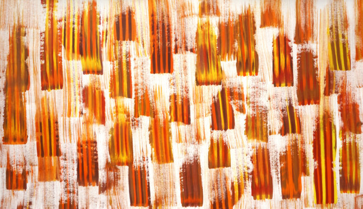 Composition No. 145 - Painting,  34x60x0.1 in, ©2019 by Sumit Mehndiratta -                                                                                                                                                                                                                                                                                                                                                                                                                                                                                                                                                                                                                                                                                  Abstract, abstract-570, Abstract Art, Asia, artwork_cat.Colors, Patterns, yellow, orange, brown, autumn, fall, vivid, bright, summer