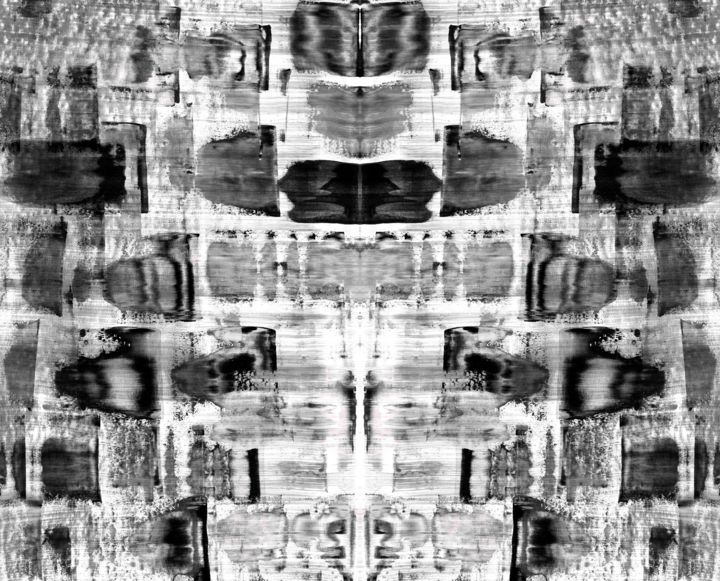 Fabrikik - Digital Arts,  47x58x0.1 in, ©2019 by Sumit Mehndiratta -                                                                                                                                                                                                                                                                                                                                                                                                                                                                                                                                                                                          Abstract, abstract-570, Abstract Art, Black and White, Gothic, Patterns, black and white, surreal, gothic, movement, scales, patterns