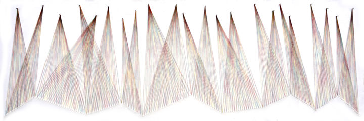 Wall hanging Nailed it Series No. 126 - Sculpture,  26x74x2 in, ©2019 by Sumit Mehndiratta -                                                                                                                                                                                                                                                                                                                                                                                                                                                                                                                                                                                                                                                                                                                                                                                                                                                                  Abstract, abstract-570, Colors, Geometric, Wall, Abstract Art, thread art, string art, thread sculpture, string sculpture, weave, weaving, minimalism, minimalistic, minimal, elegant, wall hanging, wall sculpture