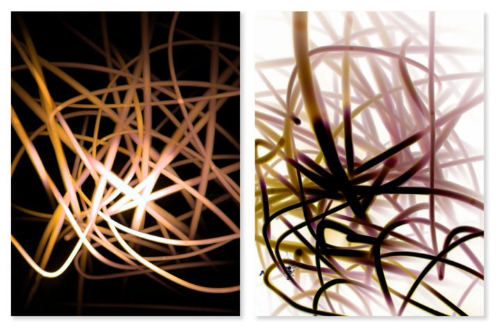 Opposites Attract - Photography,  28x42 in, ©2019 by Sumit Mehndiratta -                                                                                                                                                                                                                                                                                                                                                              Abstract, abstract-570, Light, diptych, sepia, magenta, beige