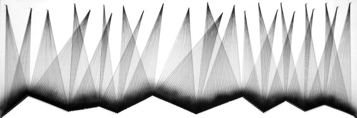 Nailed it Series No. 127 - Textile Art,  26x74x2 in, ©2019 by Sumit Mehndiratta -                                                                                                                                                                                                                                                                                                                                                                                                                                                      Abstract, abstract-570, Black and White, string art, thread art, wall sculpture, black and white, geometric sculpture, horizontal