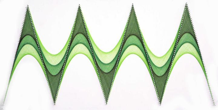 Nailed it Series No. 128 - Sculpture,  26x50x2 in, ©2019 by Sumit Mehndiratta -                                                                                                                                                                                                                                                                                                                                                                                                                                                                                                                                                                                                                                                                                                                                                                                                                      Geometric, geometric-572, Abstract Art, Colors, Patterns, Wall, string art, thread art, shades of green, green abstract, green sculpture, thread sculpture, string sculpture, thread wall art, string wall art, weaving, weave