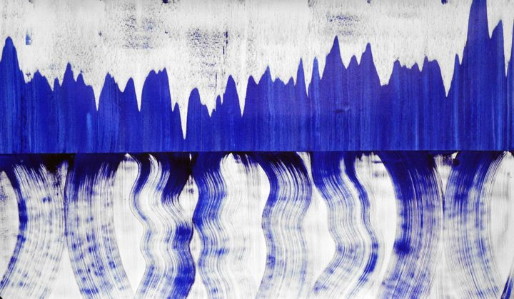 Composition no. 154 - Pintura,  34x60 in, ©2019 por Sumit Mehndiratta -                                                                                                                                                                                                                                                                                                                                                                                                                                                                                                                                              Abstract, abstract-570, Arte abstracto, Colores, Patrones, blue and white, blue abstract, fluid, movement, flow, energy