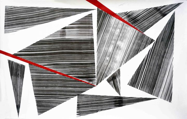 Composition No. 155 - Drawing,  18x29 in, ©2019 by Sumit Mehndiratta -                                                                                                                                                                                                                                                                                                                                                                                                                                                                                                                                              Abstract, abstract-570, Abstract Art, Black and White, Geometric, Patterns, triangle, geometric, black, white, red