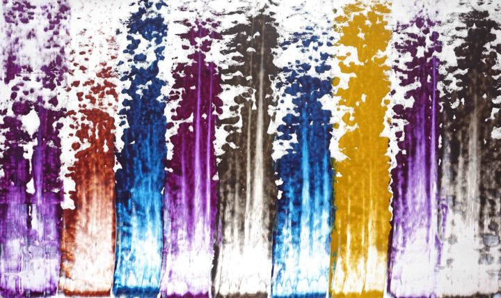 Composition No. 157 - Painting,  35x60 in, ©2020 by Sumit Mehndiratta -                                                                                                                                                                                                                                                                                                                                                                                                                                                                                                                                                                                                                                                                                                                                                                                                                      Abstract, abstract-570, Abstract Art, Colors, Patterns, Water, purple, blue, beige, brown, yellow, white, abstract patterns, upward, movement, flow, motion