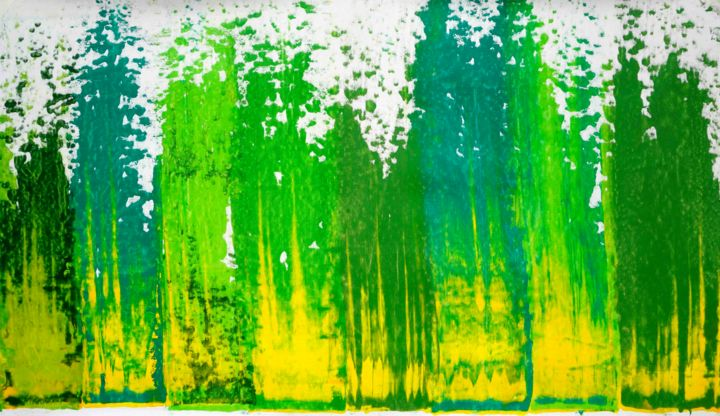 Composition No. 172 - Painting,  34x60 in, ©2020 by Sumit Mehndiratta -                                                                                                                                                                                                                                                                                                                                                                                                                                                                                                  Abstract, abstract-570, Abstract Art, green, shades of green, plants, grass, nature, grass abstract, green abstract