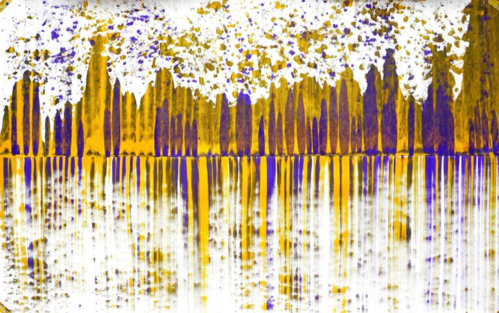 Composition No. 173 - Painting,  36x60 in, ©2020 by Sumit Mehndiratta -                                                                                                                                                                                                                                                                                                                                                                                                                                                                                                                                                                                                                                                                                                                                                                                                                      Abstract, abstract-570, Abstract Art, Colors, Patterns, purple, yellow, yellow and purple, yellow and white, movement, abstract patterns, flow, dynamic, energetic, vibrant, playful, stripes