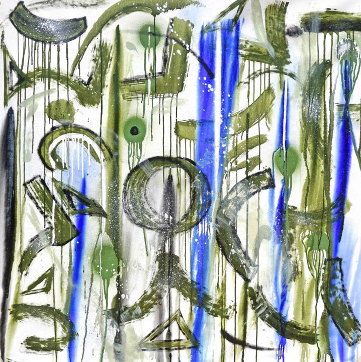 Composition No. 188 - Painting,  45x45 in, ©2020 by Sumit Mehndiratta -                                                                                                                                                                                                                                                                                                                                                                                                                                                                                                                                                                                                                                                                                                                              Street Art, street-art-624, Abstract Art, Colors, Graffiti, Patterns, green, bottle green, olive green, green and blue, green and blue abstract, black, blue, graffiti art, graffiti abstract