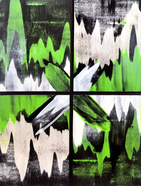 Zayara - Painting,  44x32 in, ©2020 by Sumit Mehndiratta -                                                                                                                                                                                                                                                                                                                                                                                                                                                                                                                                                                                                                                                                                  Abstract, abstract-570, Abstract Art, Colors, Patterns, green and black, green abstract, black abstract, flowing, energetic, dynamic, green and white abstract, contemporary, urban