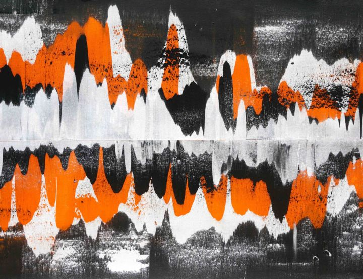 Sierra - Painting,  32x44x0.1 in, ©2020 by Sumit Mehndiratta -                                                                                                                                                                                                                                                                                                                                                                                                                                                                                                                                                                                                                                                                                                                                                                          Abstract, abstract-570, Abstract Art, Colors, Patterns, orange and black, orange and white, black and white, orange abstract, orange and black abstract, movement, fluid, flowing, ripples, waves, mountains