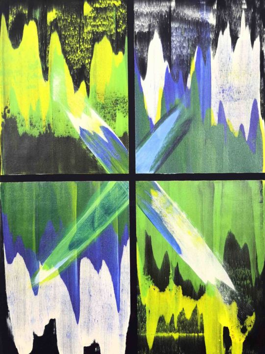 Mayara - Painting,  44x33x1 in, ©2020 by Sumit Mehndiratta -                                                                                                                                                                                                                                                                                                                                                                                                                                                                                                                                                                                                                                      Abstract, abstract-570, Abstract Art, Colors, Patterns, blue, black, green, yellow, smooth, waves, ripples, mountains