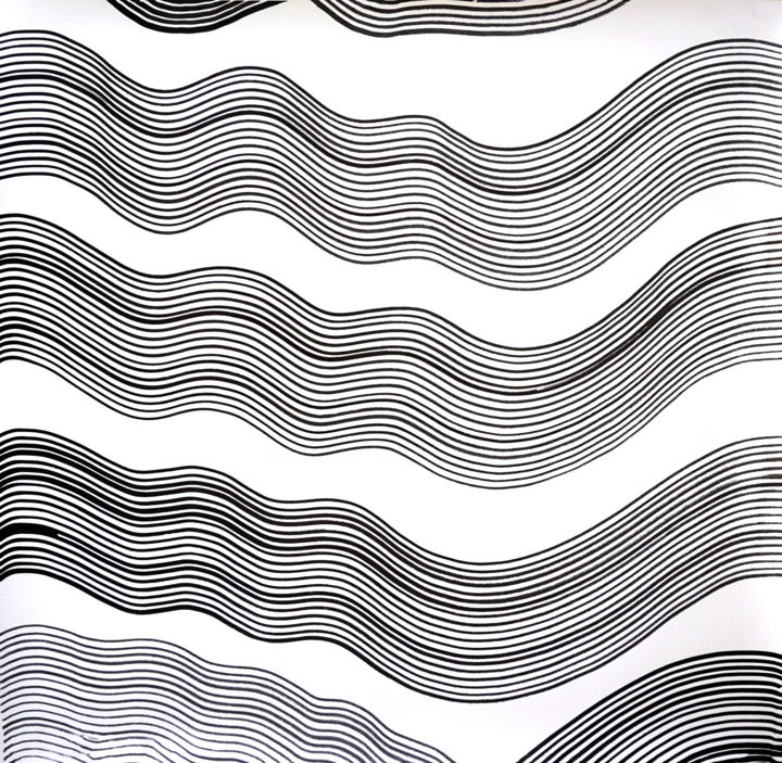 Composition No. 195 - Drawing,  29x30 in, ©2020 by Sumit Mehndiratta -                                                                                                                                                                                                                                                                                                                                                                                                                                                                                                                                                                                          Abstract, abstract-570, Abstract Art, Asia, Black and White, Patterns, black and white drawing, black and white abstract, waves, soothing, calming, movement