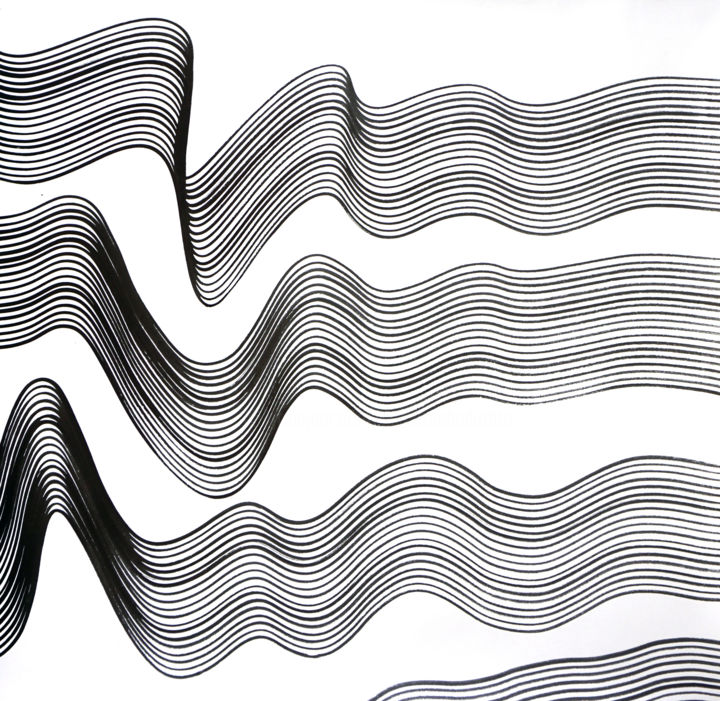 Composition No. 196 - Drawing,  29x30 in, ©2020 by Sumit Mehndiratta -                                                                                                                                                                                                                                                                                                                                                                                                                                                                                                                                                                                          Abstract, abstract-570, Abstract Art, Asia, Black and White, Patterns, black and white drawing, black and white abstract, abstract drawing, movement, soothing, calming