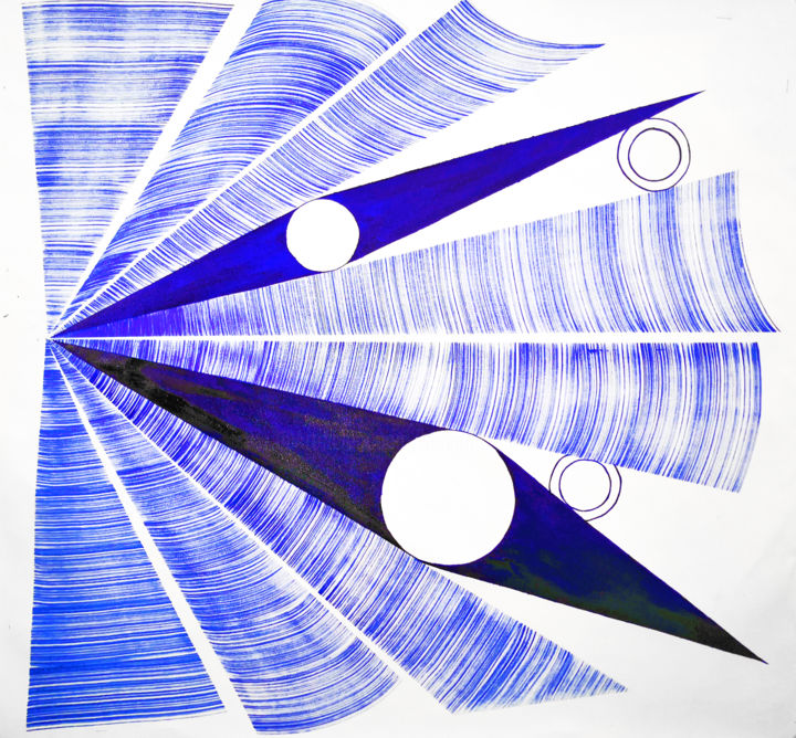 Nafarius - Painting,  41x45x1 in, ©2020 by Sumit Mehndiratta -                                                                                                                                                                                                                                                                                                                                                                                                                                                                                                                                                                                                                                                                                                                                                                                                                      Abstract, abstract-570, Abstract Art, Colors, Geometric, Patterns, blue abstract, blue and white, blue and white abstract, blue painting, blue art, blue artwork, blue abstract art, geometric art, geometrical art, geometric abstract, triangular
