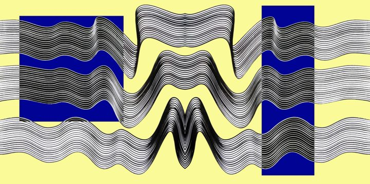 Dupiopa - © 2020 yellow, blue, yellow and blue, yellow and blue abstract, yellow abstract, waves, conceptual, experimental, geometric forms, geometric art Online Artworks