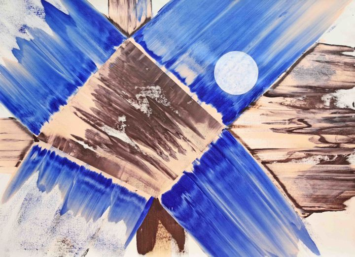 Dampipo - Painting,  31x44.5 in, ©2020 by Sumit Mehndiratta -                                                                                                                                                                                                                                                                                                                                                                                                                                                                                                                                                                                                                                                                                                                                                                                                                                                                                                                                                          Abstract, abstract-570, Abstract Art, Colors, Geometric, Patterns, blue, brown, flesh tint, white, blue and brown, blue abstract, brown abstract, blue art, brown art, geometric, movement, fluid, energetic, vibrant