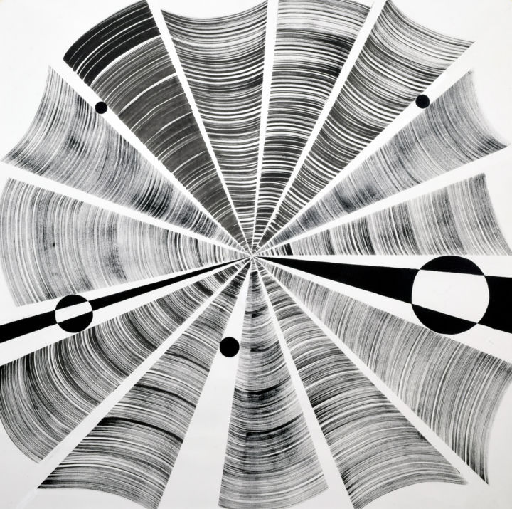 Convergence - Painting,  44.5x44.5 in, ©2020 by Sumit Mehndiratta -                                                                                                                                                                                                                                                                                                                                                                                                                                                                                                                                                                                                                                      Abstract, abstract-570, Black and White, Geometric, Patterns, black and white, geometric, geometrical, movement, optical illusion, spin, spinning, rotate