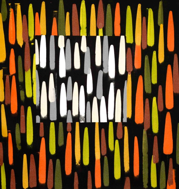 Composition No. 202 - Painting,  33.5x33.5 in, ©2020 by Sumit Mehndiratta -                                                                                                                                                                                                                                                                                                                                                                                                                                                                                                                                                                                                                                                                                                                              Abstract, abstract-570, Abstract Art, Colors, Geometric, Patterns, black and yellow, yellow abstract, orange abstract, black and orange, square abstract, movement, soothing, contrasting colours, abstract patterns