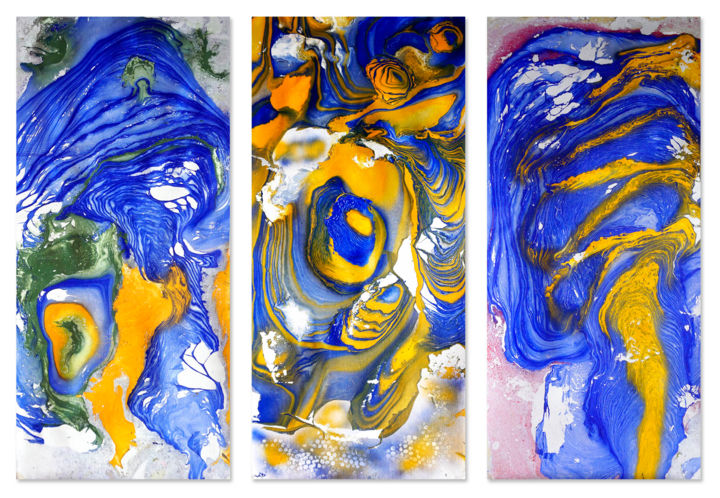 Composition No. 204 - Painting,  44.5x56 in, ©2020 by Sumit Mehndiratta -                                                                                                                                                                                                                                                                                                                                                                                                                                                                                                                                                                                                                                                                                                                                                                                                                      Abstract, abstract-570, Abstract Art, Colors, Patterns, Water, blue and green, blue and yellow, blue abstract, triptych, set of three, movement, fluid, liquid, ripples, waves, layers