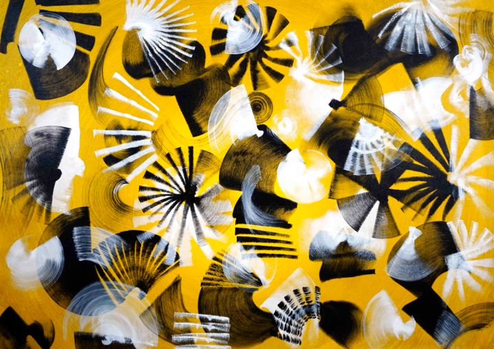 Composition No. 208 - Painting,  36x51 in, ©2020 by Sumit Mehndiratta -                                                                                                                                                                                                                                                                                                                                                                                                                                                                                                                                                                                                                                                                                                                                                                                                                                                                                                                                                                                                                                                  Abstract, abstract-570, Abstract Art, artwork_cat.Colors, Patterns, yellow, yellow abstract, yellow art, yellow painting, yellow and black, yellow and white, ombre effect, gradient, yellow artwork, movement, sun, sunrise, sunset, sunny day, autumn, summer, warm colours