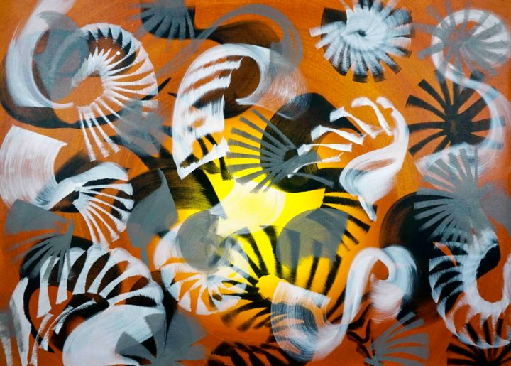 Composition No. 209 - Painting,  36x51x0.1 in, ©2020 by Sumit Mehndiratta -                                                                                                                                                                                                                                                                                                                                                                                                                                                                                                                                                                                                                                                                                                                              Abstract, abstract-570, Abstract Art, artwork_cat.Colors, Patterns, brown and yellow, brown and black, brown and white, black and white, grey, movement, dynamic, energetic, gradient, ombre