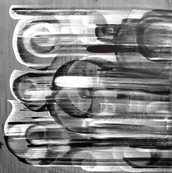 Composition no. 210 - Painting,  34x34x1.5 in, ©2020 by Sumit Mehndiratta -                                                                                                                                                                                                                                                                                                                                                                                                                                                                                                                                                                                                                                                                                                                              Abstract, abstract-570, Abstract Art, Black and White, black, white, grey, movement, flow, abstract, modern, urban, art deco, framed, ready to hang