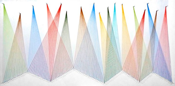 Nailed it Series No. 138 - Sculpture,  25x49x1.5 in, ©2020 by Sumit Mehndiratta -                                                                                                                                                                                                                                                                                                                                                                                                                                                                                                                                                                                                                                                                                                                                                                                                                      Abstract, abstract-570, Abstract Art, artwork_cat.Colors, Geometric, Patterns, colourful, geometric, string art, thread art, thread sculpture, string sculpture, wall sculpture, wall hanging, wall design, wall art, ready to hang