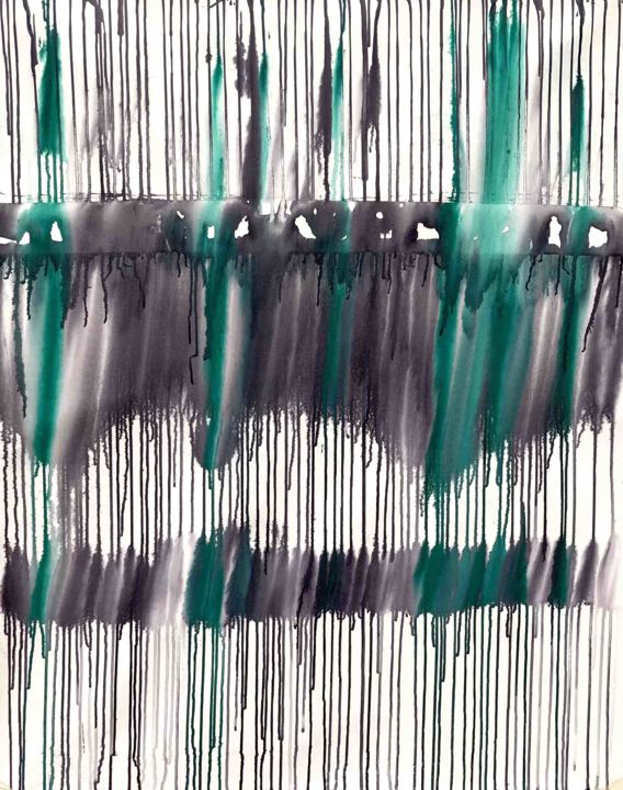 Dripology No.21 - Painting,  44.5x34 in, ©2020 by Sumit Mehndiratta -                                                                                                                                                                                                                                                                                                                                                                                                                                                                                                                                                                                                                                      Abstract, abstract-570, Abstract Art, artwork_cat.Colors, Gothic, Patterns, purple, green, white, drip, dripping, pouring, acrylic pour